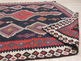 Black Traditional Reversible Flatweave Kilim Rug, 4'7 x 10'