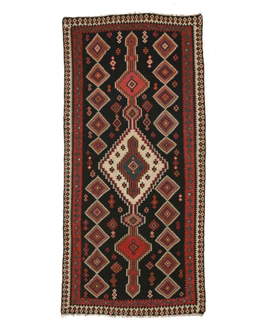 Hand-knotted Wool Black Traditional Geometric Reversible Flatweave Kilim Rug, 4'7 x 10'