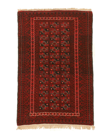 Hand-knotted Wool Red Traditional Geometric Baluchi Rug, 3' 3 x 4' 3