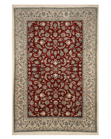 Red Traditional Nain Rug, 6' 7 x 9' 7