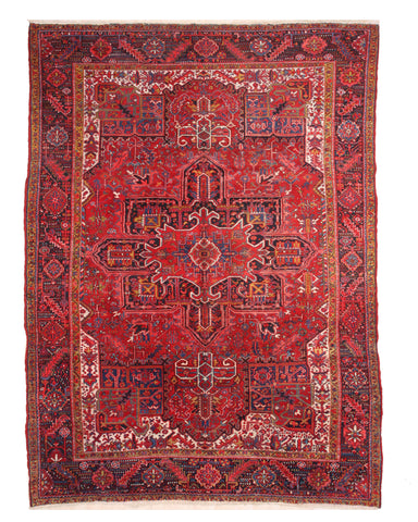 Red Traditional Heriz Rug, 9'3 x 12' 9