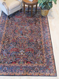 Navy Blue Hand-knotted Wool Traditional Lavar Rug