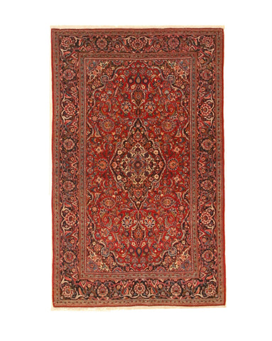 Hand-knotted Wool Red Traditional Oriental Kashan Rug