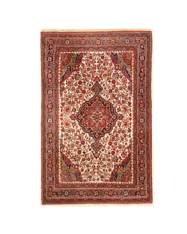 Hand-knotted Wool Ivory Traditional Oriental Hamedan Rug