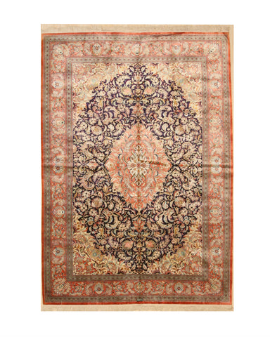 Hand-knotted Silk Blue Traditional Oriental Sino Rug