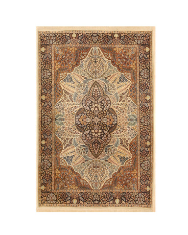 Hand-knotted Wool Ivory Traditional Oriental Pak-Persian Rug