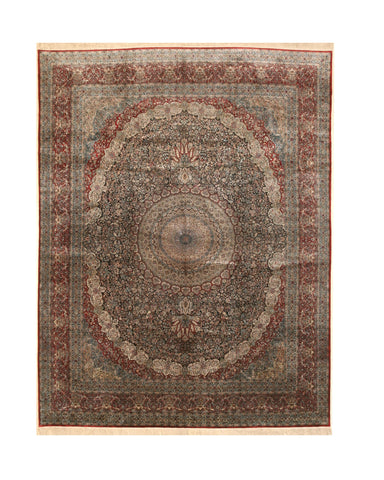 Hand-knotted Silk Black Traditional Oriental Sino Rug