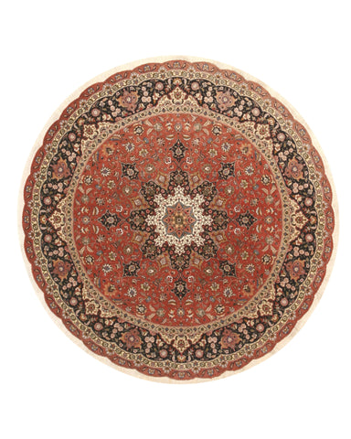 Hand-knotted Wool Orange Traditional Oriental Tabriz Rug