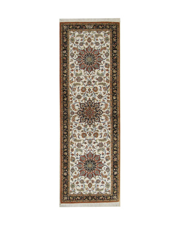 Hand-knotted Silk Ivory Traditional Oriental Qum Rug