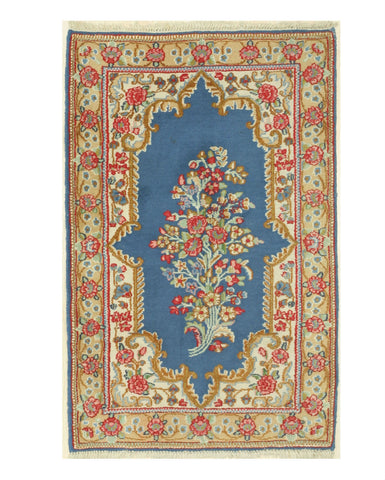 Hand-knotted Wool Blue Traditional Oriental Kerman Rug (3'2 x 4'10)
