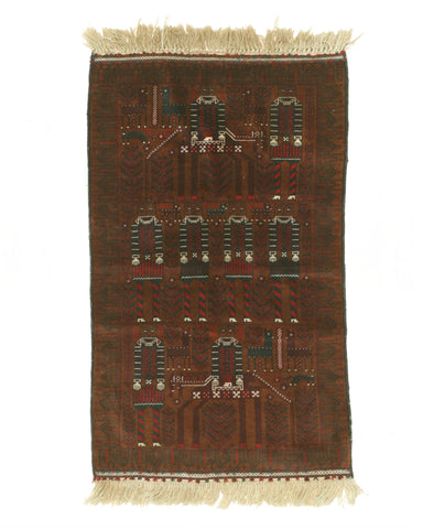 Hand-knotted Wool Brown Traditional Oriental Baluchi Rug (3'1 x 5'2)