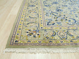 Hand-knotted Wool Green Traditional Oriental Kashan Rug