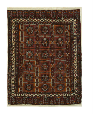 Red Traditional Turkman-Ankhoi Rug, 7'6 x 9'5