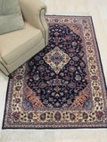 Navy Traditional Tabriz Rug, 4'1 x 6'1