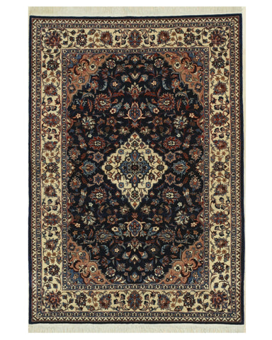 Hand-knotted Wool Navy Traditional Oriental Tabriz Rug (4'1 x 6'1)