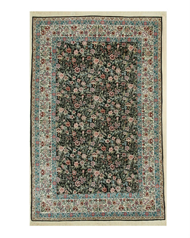 Hand-knotted Silk Black Traditional Oriental Sino-Persian Rug (4'2 x 6'4)