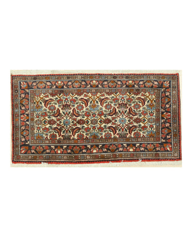 Hand-knotted Wool Ivory Traditional Oriental Malayer Rug (2'4 x 4'4)
