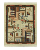 Ivory Traditional Modern Bucharest Rug, 6'3 x 8'2
