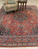Rust Traditional Tabriz Rug, 8'8 x 11'3