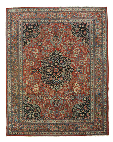 Hand-knotted Wool Rust Traditional Oriental Tabriz Rug (8'8 x 11'3)