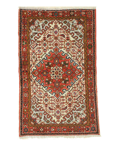 Hand-knotted Wool Ivory Traditional Oriental Hamadan Rug (3'3 x 5'9)