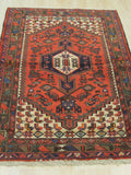 Rust Traditional Hamadan Rug, 3'4 x 5'7