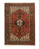Hand-knotted Wool Rust Traditional Oriental Hamadan Rug (3'4 x 5'7)