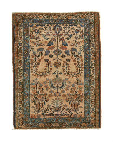 Hand-knotted Wool Beige Traditional Oriental Lilihan Rug (2'7 x 3'7)