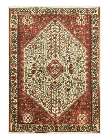 Hand-knotted Wool Ivory Traditional Oriental Abadeh Rug (5' x 6'10)