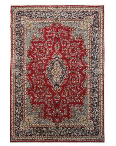 Hand-knotted Wool Red Traditional Oriental Kerman Rug (11'5 x 16'2)