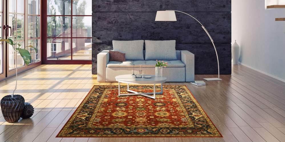 EORC SHT19RT RUST HAND KNOTTED WOOL SUPER MAHAL RUG