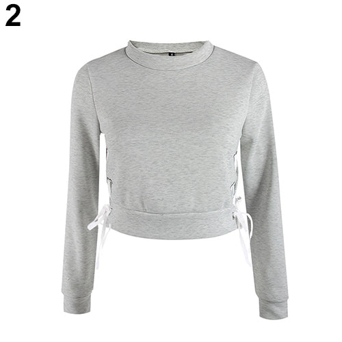 Women Sexy Short Top Long Sleeve Pure Color Pullover Slim Blouse Hoodie T-Shirt