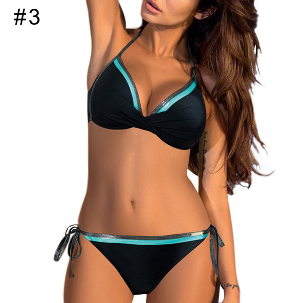 Color Block Halter Bandage Summer Bikini Set Women Two-piece Swimwear