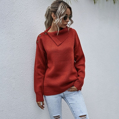 Women's Knitted Irregular Collar Long Sleeve Pullover Sweater