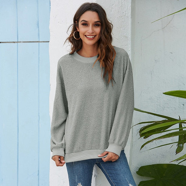 Women's Long Sleeve Loose Short Pullover Sweater