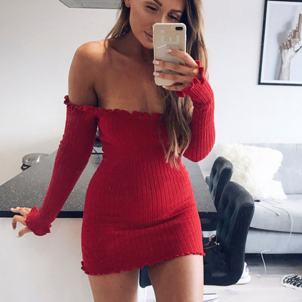 Evening Party Women Off Shoulder Long Sleeve Ruffled Bodycon Sexy Mini Dress