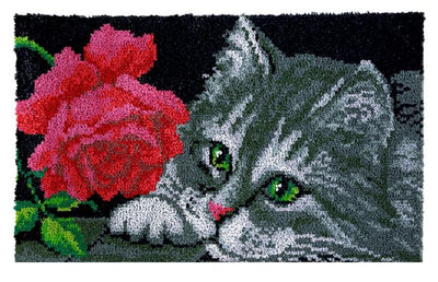 Cat with Rose Rug Latch Hooking Kits