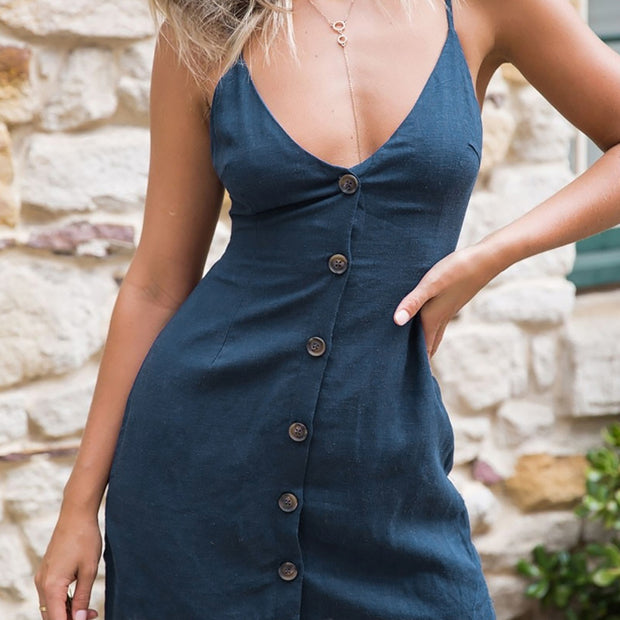 Fashion Women Summer V-Neck Buttons Front Ties Hollow Back Slipdress Mini Dress