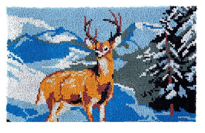 Deer Snow Forest Rug Latch Hooking Kit