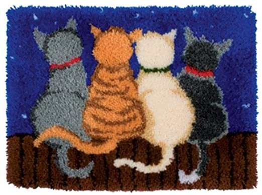4 Night Cats Rug Latch Hooking Kit