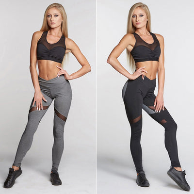 Women's Fashion Splice Tight Pants Heart shaped Gauze Yoga Pants Leggings