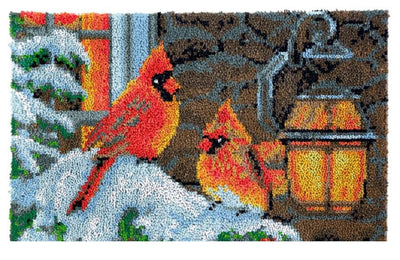 Winter Cardinals Rug Latch Hooking Kit