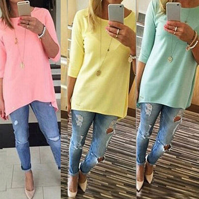 Women Fashion Loose Medium Sleeve T-Shirt Spring Cotton Tops Shirt Casual Blouse