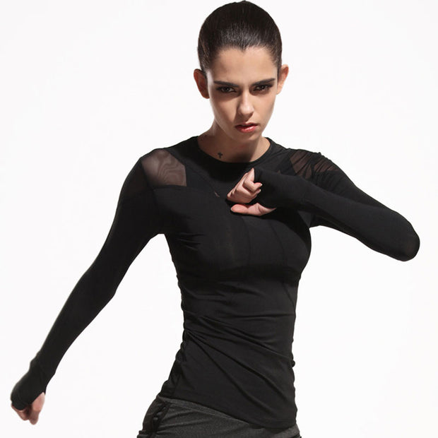 Women's Full Sleeve Mesh Yoga Top