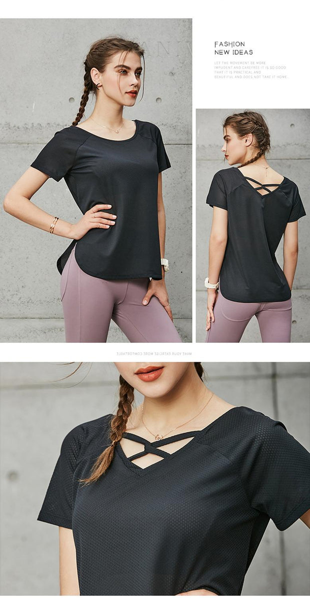 Women Short Sleeve Yoga Workout Top