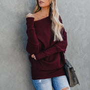 Women Sweaters Oversized Cashmere Off Shoulder Winter Pullover