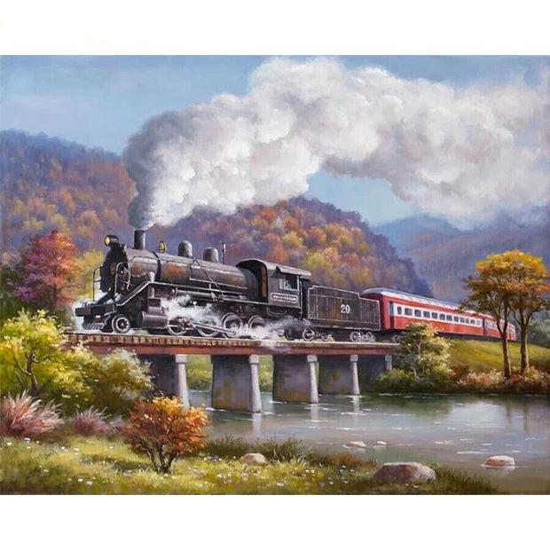 Train crossing River Paint By Numbers