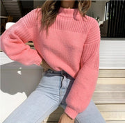 Women Knitted High Neck Long Sleeve Sweater