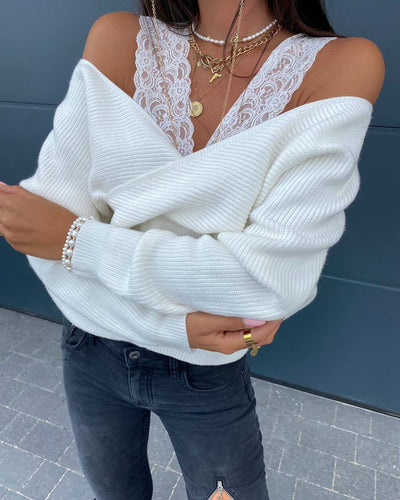 Women Long Sleeve V Neck Sweater