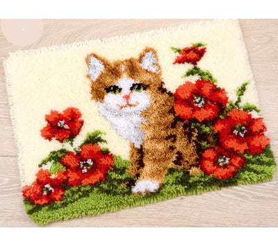 Kitten in Flowers Rug Latch Hooking Kit